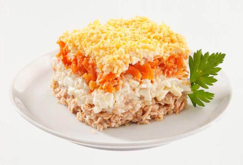 Низкокалорийный салат мимоза с тунцом без майонеза